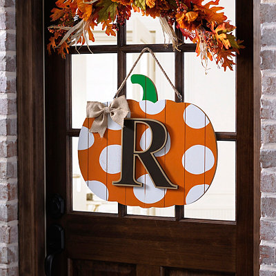 Polka Dot Monogram R Pumpkin Wooden Plaque