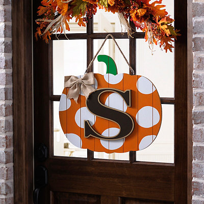 Polka Dot Monogram S Pumpkin Wooden Plaque