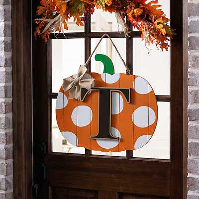 Polka Dot Monogram T Pumpkin Wooden Plaque