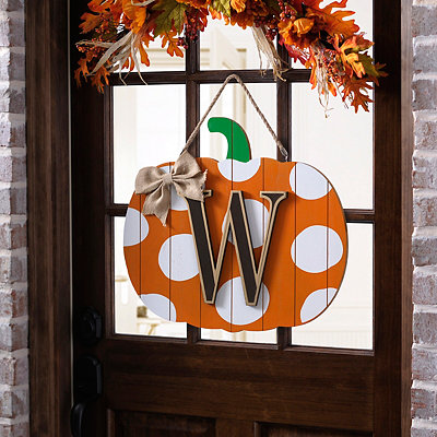 Polka Dot Monogram W Pumpkin Wooden Plaque
