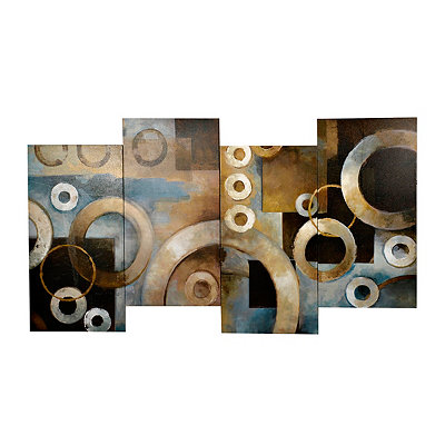Blue and Brown Circles Staggered Canvas Art Print