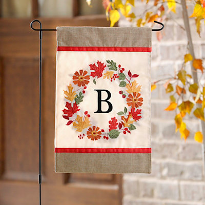 Fall Wreath Monogram B Flag Set
