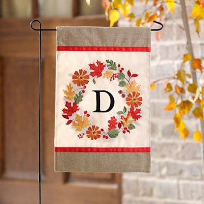 Fall Wreath Monogram D Flag Set