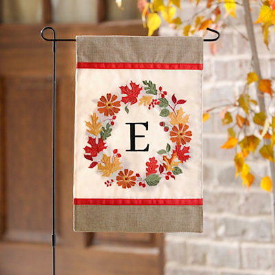 Fall Wreath Monogram E Flag Set