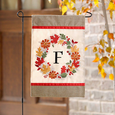 Fall Wreath Monogram F Flag Set