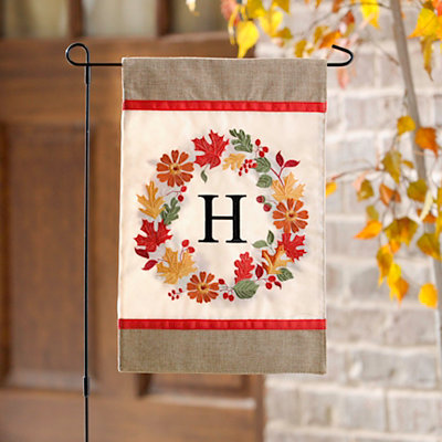 Fall Wreath Monogram H Flag Set