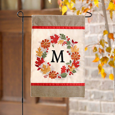 Fall Wreath Monogram M Flag Set