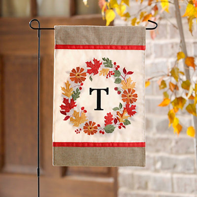Fall Wreath Monogram T Flag Set