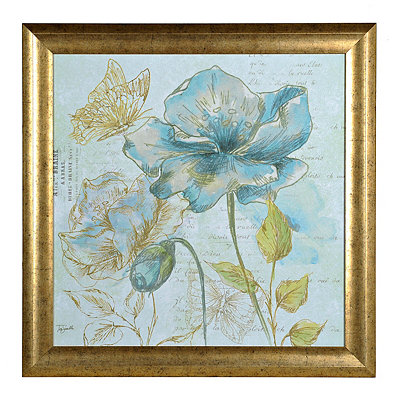 Aqua Floral Sketch I Framed Art Print