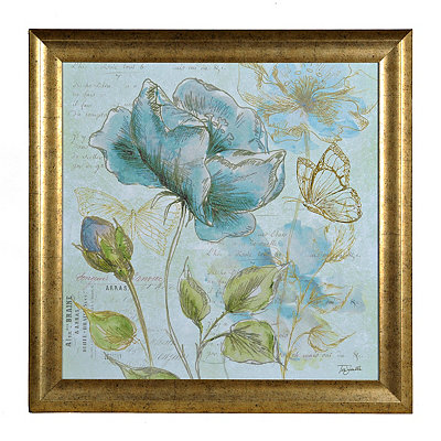 Aqua Floral Sketch II Framed Art Print