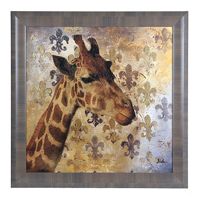 Golden Safari Giraffe Framed Art Print