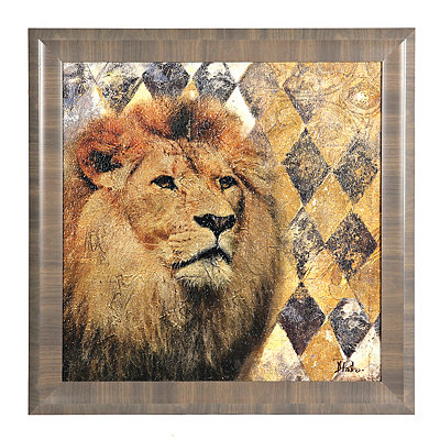 Golden Safari Lion Framed Art Print