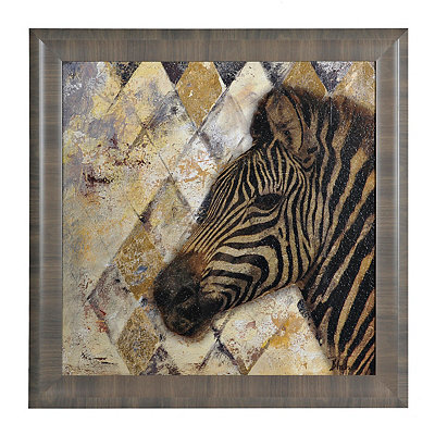 Golden Safari Zebra Framed Art Print