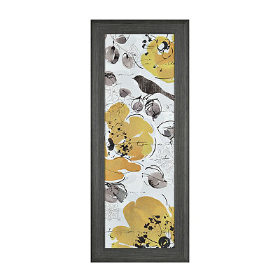 Yellow and Gray Floral I Framed Art Print