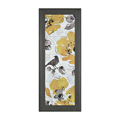 Yellow and Gray Floral II Framed Art Print