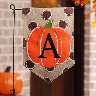 Polka Dot Pumpkin Monogram A Flag Set