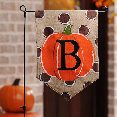 Polka Dot Pumpkin Monogram B Flag Set