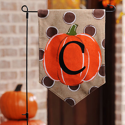 Polka Dot Pumpkin Monogram C Flag Set