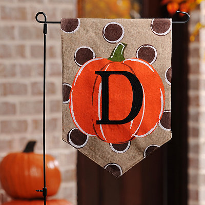 Polka Dot Pumpkin Monogram D Flag Set