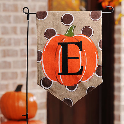 Polka Dot Pumpkin Monogram E Flag Set