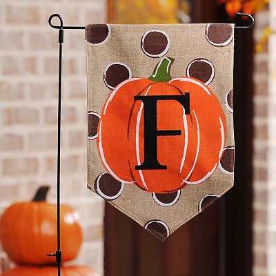 Polka Dot Pumpkin Monogram F Flag Set
