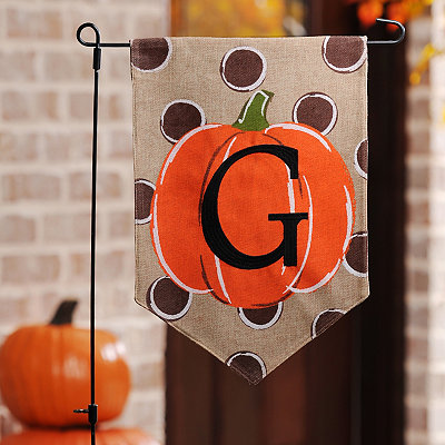 Polka Dot Pumpkin Monogram G Flag Set