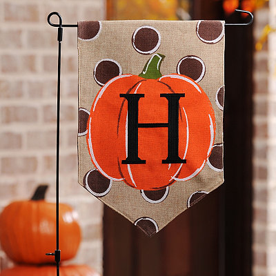 Polka Dot Pumpkin Monogram H Flag Set