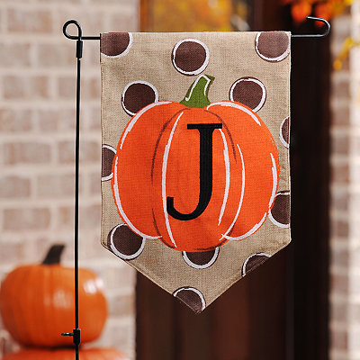 Polka Dot Pumpkin Monogram J Flag Set