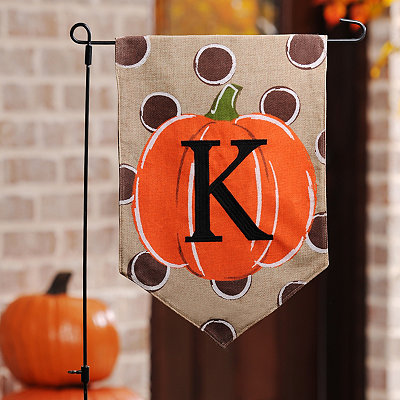 Polka Dot Pumpkin Monogram K Flag Set
