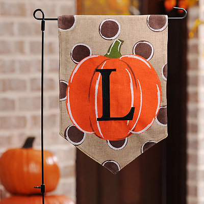 Polka Dot Pumpkin Monogram L Flag Set