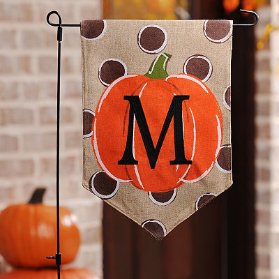 Polka Dot Pumpkin Monogram M Flag Set