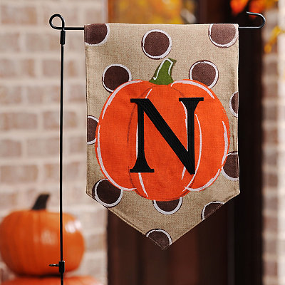 Polka Dot Pumpkin Monogram N Flag Set