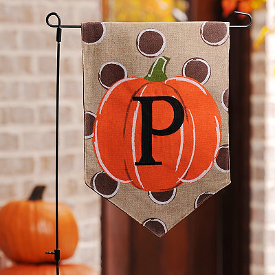Polka Dot Pumpkin Monogram P Flag Set