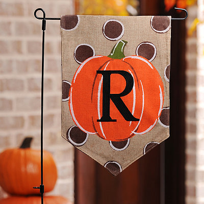 Polka Dot Pumpkin Monogram R Flag Set
