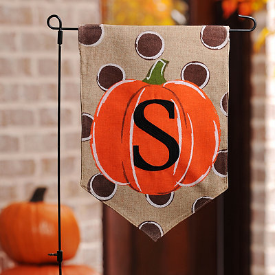 Polka Dot Pumpkin Monogram S Flag Set