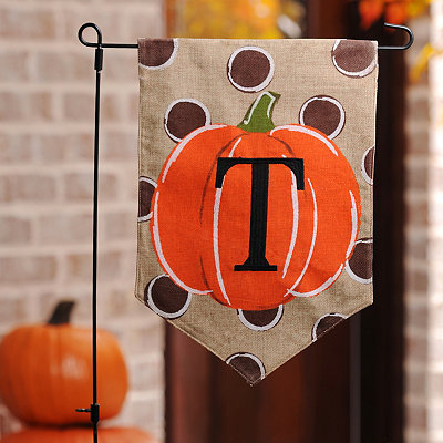 Polka Dot Pumpkin Monogram T Flag Set