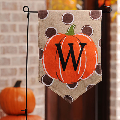 Polka Dot Pumpkin Monogram W Flag Set