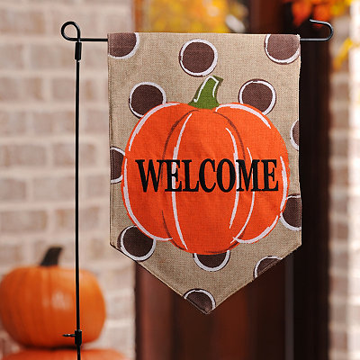Polka Dot Pumpkin Welcome Flag Set