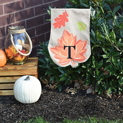 Fall Leaf Monogram T Flag Set