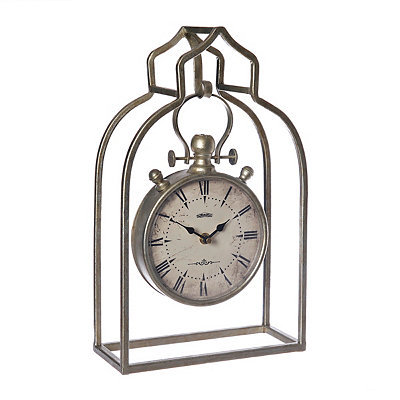 Anitque Metallic Hanging Cage Tabletop Clock