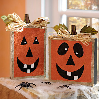 Jack O' Lantern Wooden Blocks, Set of 2