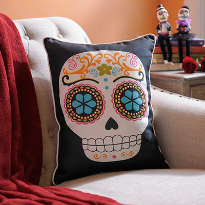 Reversible Sugar Skull and Chevron Pillow