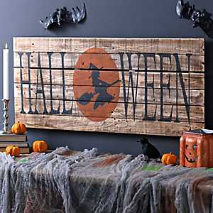 Halloween Witch Wood Plank Sign