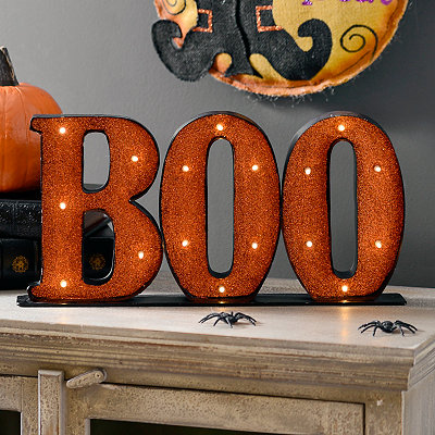 LED Glitter Boo Sign