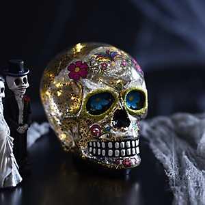 Glass LED Sugar Skull Statue