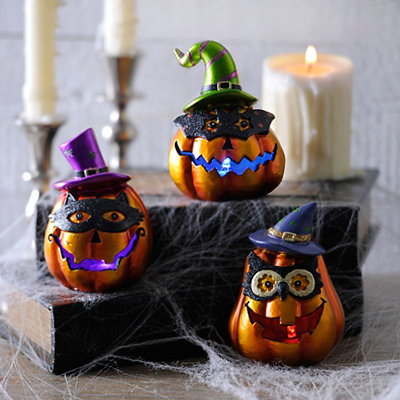 Halloween Masked Jack O' Lanterns, Set of 3