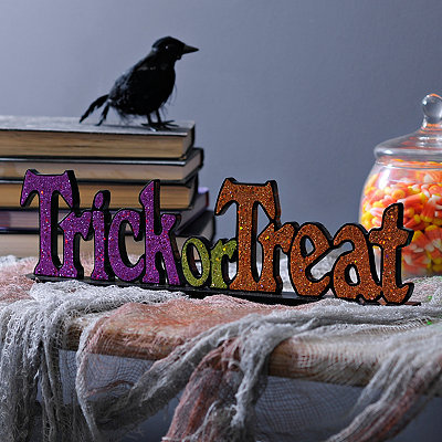 Halloween Trick or Treat Glitter Tabletop Sign