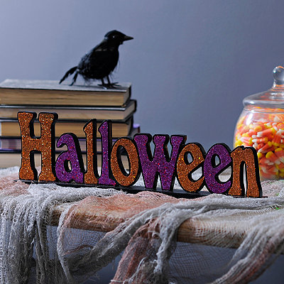 Halloween Glitter Tabletop Sign