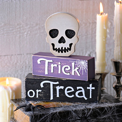 Halloween Trick or Treat Skull Word Blocks