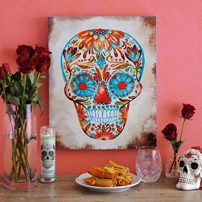 Jeweled Sugar Skull Canvas Art Print